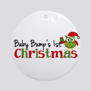 Baby Bump's 1st Christmas Owl Ornament (Round)